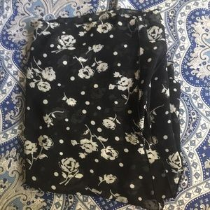 Black with white flowers scarf